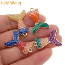 Julie Wang 5PCS Enamel Mermaid Tail Charms Mixed Colors Gold Tone Bracelet Necklace Alloy Pendant Jewelry Making Accessory julie wang 10pcs enamel mermaid whale fish tail charms mixed colors gold tone bracelet necklace alloy jewelry making accessory