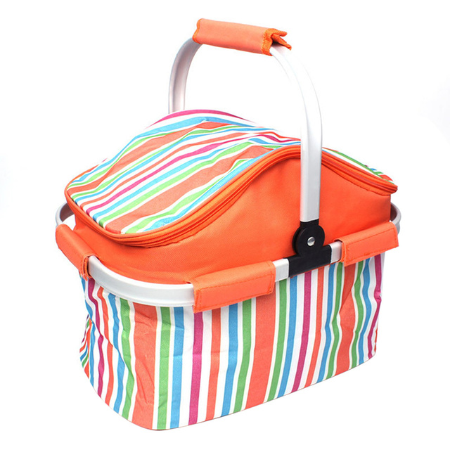 Insulated Picnic Basket Camping Bag Tote for Outdoor Picnic BBQ Holiday Parties