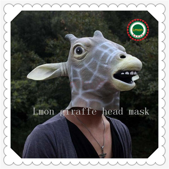 Gray Creepy Giraffe Head Face Animal Costume Halloween Party Prop Carnival Mask