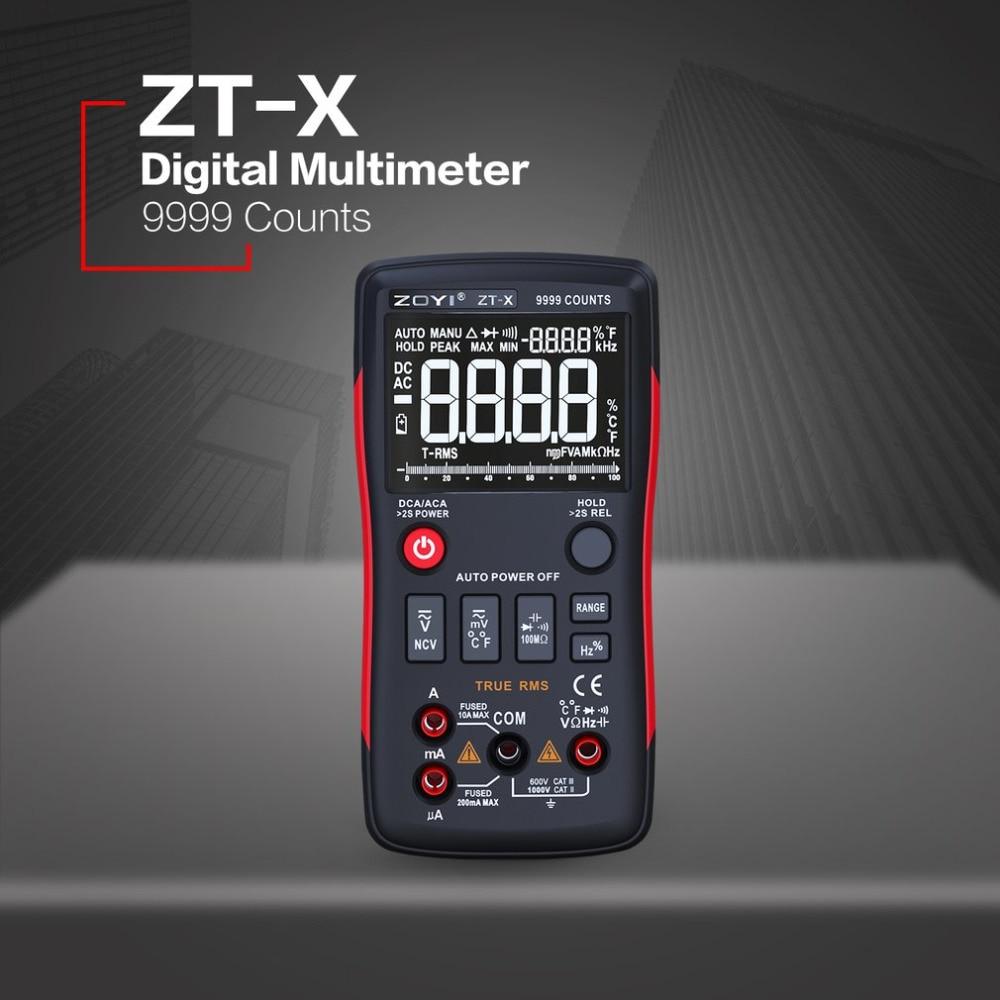 ZT-X Digital Multimeter Auto Range True RMS AC/DC Volt Amp Ohm Capacitance Duty Cycle NCV Diode Temperature Tester 9999 Counts пробковый пол corkart клеевой pj3 385w zt x 6 0