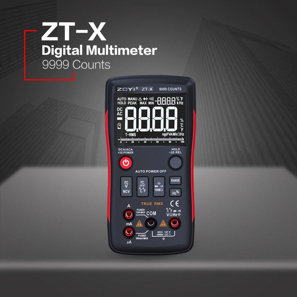 ZT-X Digital Multimeter Auto Range True RMS AC/DC Volt Amp Ohm Capacitance Duty Cycle NCV Diode Temperature Tester 9999 Counts