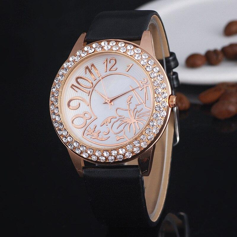 Модные Повседневное Для женщин Кварцевые наручные часы кожа Женские часы браслеты золотой цветок Relogio feminino часы детский подарок