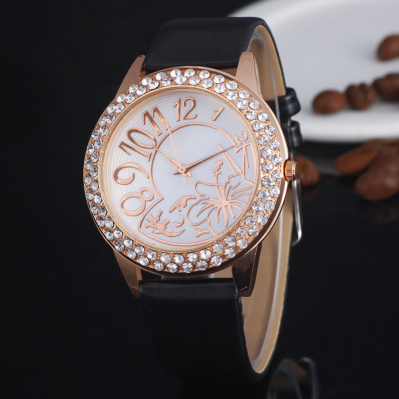 Fashion Casual Women's Quartz Wristwatches Leather Women's Bracelet Watches Golden Flower Relogio Feminino Clock Children's Gift