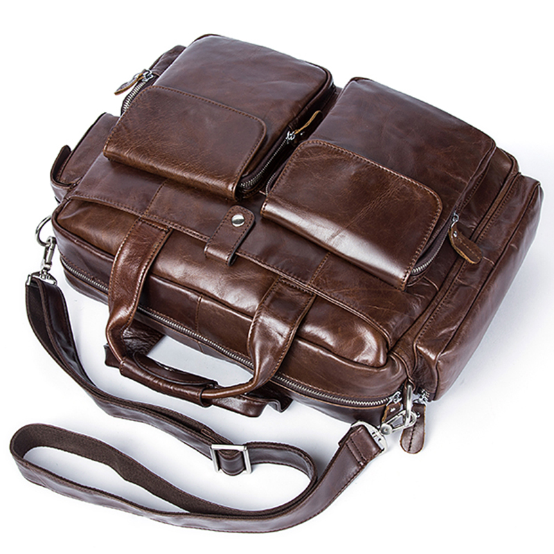 Grande brown Homme Hommes Capacité Véritable En Ordinateur Souple Épaule Portable Coffee Handlebag Serviette Mode Tianhoo Cuir Pouce Et 14 Sac gHwCnqwd