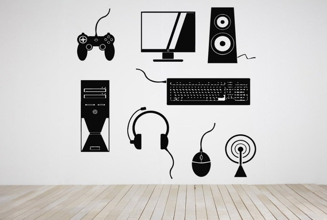 Gamer Devices Vinyl Wall Decal Computer Set Sound
