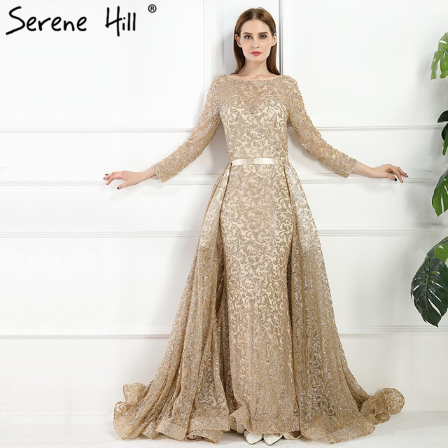 Мода Русалка Люкс вечернее платье одежда с длинным рукавом gliter с Поезд Вечерние платья 2018 спокойной Hill la6112