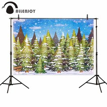 Allenjoy backdrop for photographic studio winter snowfall landscape green cedar blue sky merry christmas background photobooth