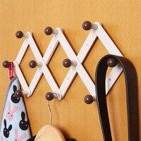 High Quality Adjustable Hat Coat Key Hanger Hook After The Door Wall Bath Wood Hanger Home