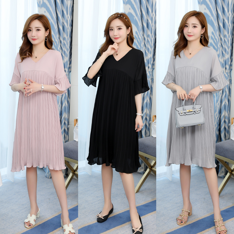 c02b65bad808c 5305# 3XL V Neck Pleated Chiffon Maternity Dress 2019 Summer Korean Fashion  Loose Clothes for Pregnant Women Pregnancy Clothing - aliexpress.com -  imall.com