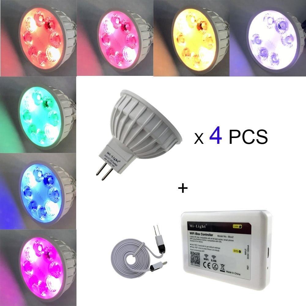 Bricolage set 16 mi llion couleurs 4 pièces X MR16/GU10 RGB + CCT LED Spot lampe 12 V AC/DC + 1 PC 2.4 GHz WIFI iBox2 mi lumière LED de contrôle
