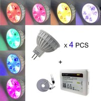 DIY set 16million colors 4PCS X MR16 /GU10 RGB+CCT LED Spot lamp 12V AC/DC +1PC 2.4GHz WIFI iBox2 mi light led controller