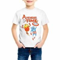 Children's Adventure Time Captain America and Iron Boy/Girl/Baby t shirt Cartoon Dragon Ball Novelty tees Clothing C11-1