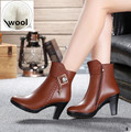 Women's boots,women's  genuine leather boots,Genuine Leather high-heeled ankle boots thick wool winter snow boots, free shipping