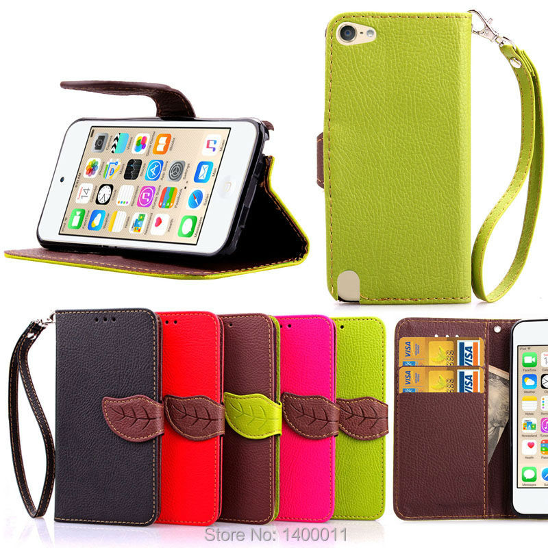 High Quality Foliage Flip Wallet Leather Case for Apple iPod Touch5 Touch6 iTouch 5 6 Mobile Phone Cases Cover with Card Holder