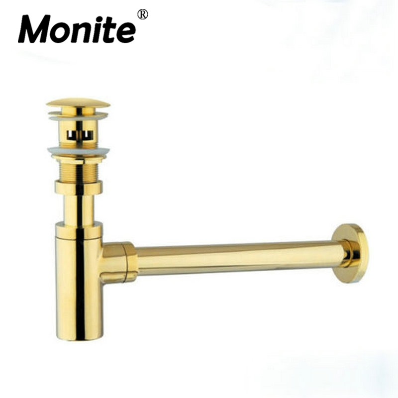 Golden Brass Siphon Bottle Traps Pop up Basin Waste Drain Basin Faucet P-Traps Waste Pipe Into the wall drainage Plumbing tube chrome siphon faucet basin mixer water waste with pop up drain