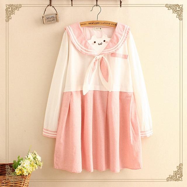 Japanese Pink Rabbit Bow Sailor Kawaii Dress Women Spring Autumn Sweet  Embroidery Long Sleeve School Dress T365 aa828f9e5a2