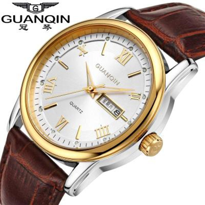 Original GUANQIN Men Watch Big Dial Casual Quartz Watch Stainless Steel Military Watches Waterproof Brand Relogio Masculino Male bgg brand creative two turntables dial women men watch stainless mesh boy girl casual quartz watch students watch relogio