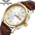 Original guanqin homens relógio grande mostrador do relógio ocasional relógio de quartzo de aço inoxidável relógios militares à prova d' água da marca relogio masculino