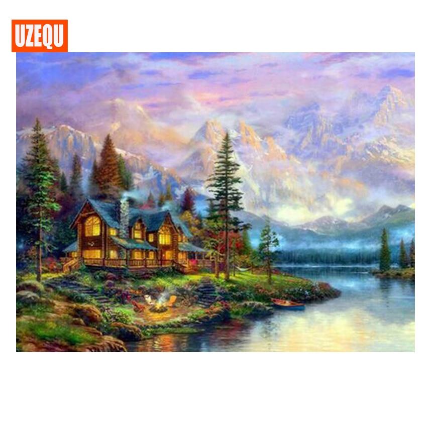 UzeQu Diamond Embroidery Cottage Scenery 5D DIY Diamond Painting - Արվեստ, արհեստ և կարի - Լուսանկար 1