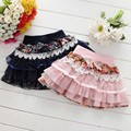 2016 Summer Children Girls Cute Mesh Lace Pettiskirt Baby Ruched Floral Pringting Bow TuTu Skirts Kids Casual Cotton Clothes