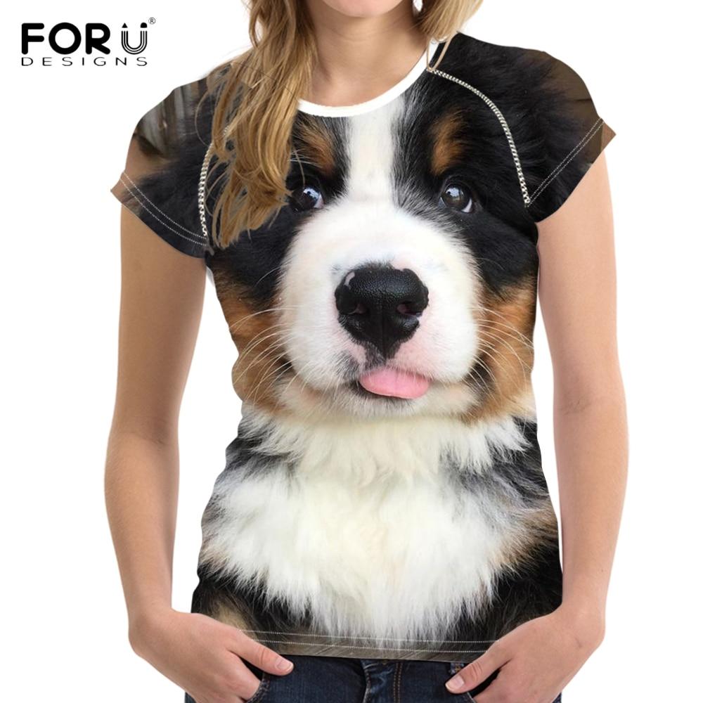 FORUDESIGNS Divertente Modello T Shirt Donna Kawaii 3D Bernese Mountain Cane Stampa Femminile di Estate T-Shirt Harajuku Breve Supera i t
