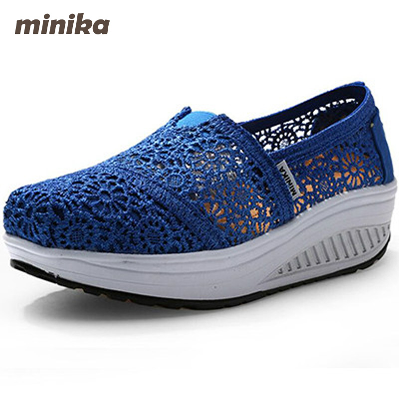 Minika Women Shoes Summer Flats Breathable Lace Loafers Platform Wedges Lose Weight Creepers Platform Slip On Shoes Woman cd41 lanshulan bling glitters slippers 2017 summer flip flops platform shoes woman creepers slip on flats casual wedges gold