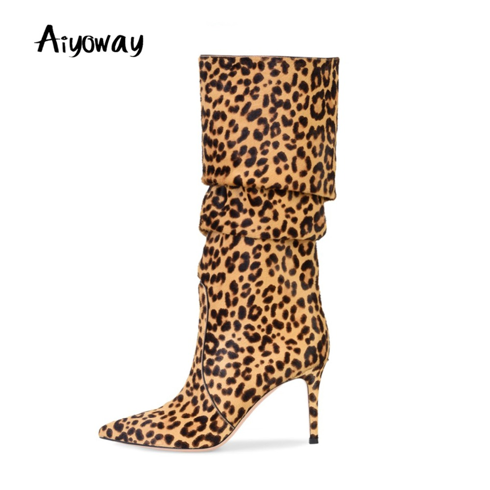 Aiyoway New Arrival Fashion Women Ladies Pointed Toe High Heel Knee High Boots Leopard Pattern Slouchy Winter Shoes Brown fashion tassels ornament leopard pattern flat shoes loafers shoes black leopard pair size 38