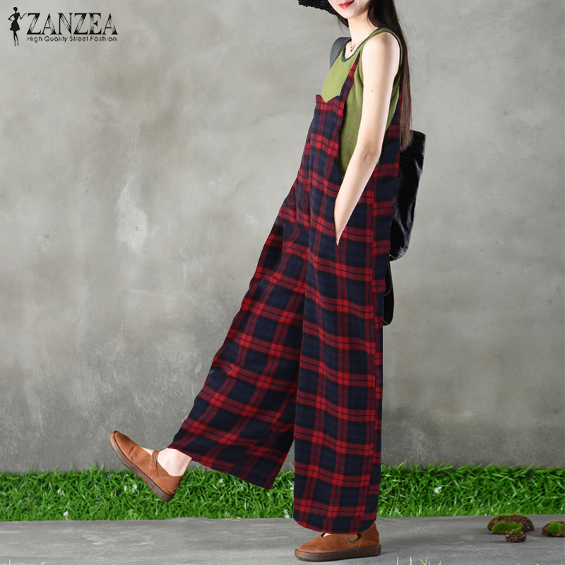 S 5XL 2018 ZANZEA Vintage Check Plaid Jumpsuit Women Casual Long Wide Leg Pants Sleeveless Strap Loose Overalls Romper Bodysuit