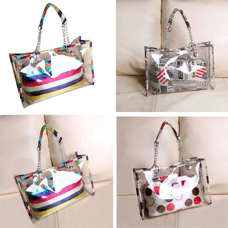 New Women Handbag Transparent Stripe/Flag/Dot Painting Shoulder Beach Bag PVC Tote Bags  BS88 алиэкспресс сумка прозрачная