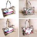 New Women Handbag Transparent Stripe/Flag/Dot Painting Shoulder Beach Bag PVC Tote Bags  BS88