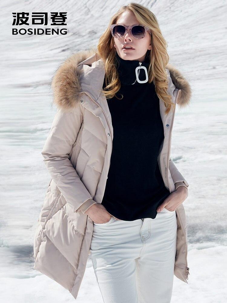 BOSIDENG الشتاء رشاقته أسفل سترة جديد المرأة الدافئة أسفل معطف الفراء الحقيقي طوق مقنعين طويلة سترة واقية للماء B80141038-في معاطف قصيرة من ملابس نسائية على  مجموعة 1