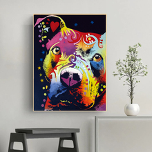 CHENFART  Wall Art Thoughtful Pitbull Warrior HeArt Oil Painting for Living Room Decorative Paintings no Framed