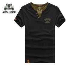 2017 neue ankunft afs jeep männer t-shirt beliebte design sommer stil männer Tops Tees Casual V-ausschnitt Kurzarm Männer Shirts Freies Schiff