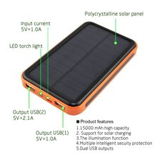 Solar Power bank 10000mah 2 USB Port LED External baterry 10000 mah PowerBank For Mobile Phone For Iphone xiaomi 5 аккумулятор romoss powerbank solo 5 10000 mah