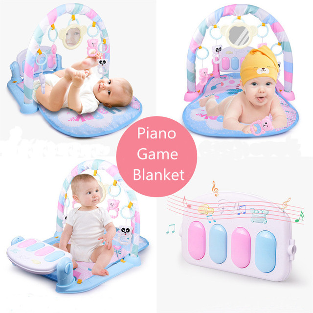 Baby Fitness Bodybuilding Frame Pedal Piano Game Blanket Newborn Rocking Chair Activity Kick Play Education Toy Music Carpet