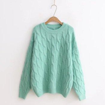 Сплошной цвет Круглый воротник пуловер осенние и зимние свободные Альпака кашемировая вязаная