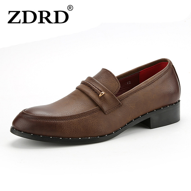 ZDRD High quality Leather Shoes oxfords Men Slip on Casual Shoes Flats Zapatos Dress Men loafers Comfortable 2017 New design