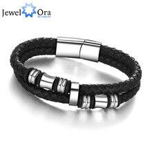 185mm 200mm 215mm Fashion Stainless Steel Men Bracelet Genuine Leather Bracelets & Bangles Man Jewelry (JewelOra BA101174)