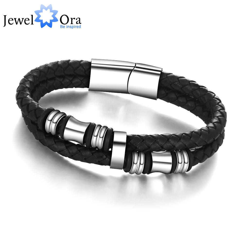 Stainless Steel Men Bracelet Genuine Leather Bracelets & Bangles Man Jewelry 185mm 200mm 215mm (JewelOra BA101174)