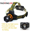 New Style CREE Q5 2000lm Torch Zoom Head Lamp Light 4 Modes Camping Dual Light Source Power LED Headlamp by 2*18650 For Fishing