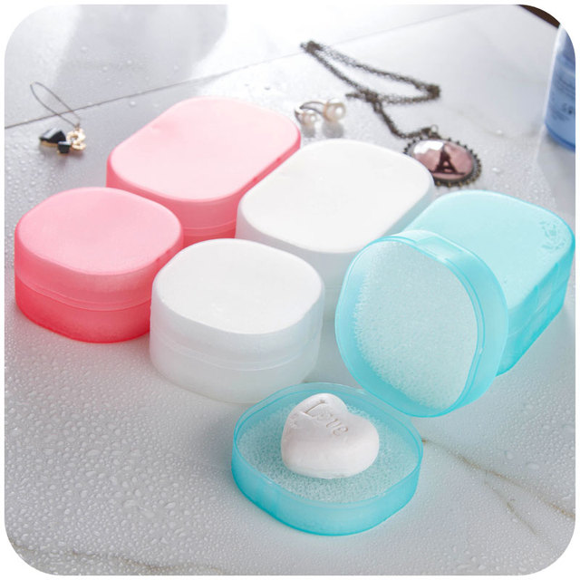 Candy Color Sponge Travel Soap Dish Plate Bathroom Kit Traveling ...