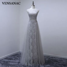 VENSANAC 2017 New A Line Embroidery O Neck Long Evening Dresses Sleeveless Elegant Crystals Sash Chiffon Party Prom Gowns