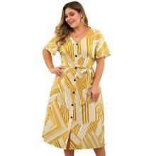WHZHM Summer Plus Size 3XL 4XL V-Neck Dress Women Sashes Buttons Belts Striped Deep V-Neck Yellow Printed Bohemian Dress Ladies недорого