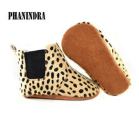 2017 New Fur Baby Moccasin Leather Baby Moccasins Girls Boys Soft Bottom Leopard Dot Baby First