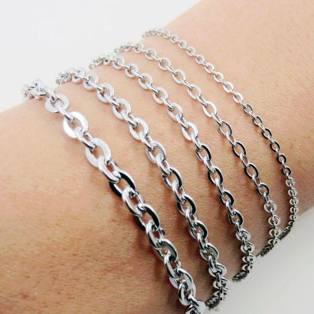 79c9c1f79d33 Cruz de acero inoxidable O pulsera de cadena pulsera brazalete de la mujer  de lindo accesorios