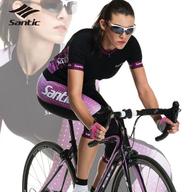 SANTIC Summer Cycling Jerseys Kit Sets Womens Short Sleeve Quick Dry Racing Team Bicycle Bike Shorts Clothing Apparel 2016 unisex breathable mountain bicycle jerseys cycling gel pad racing bike quick dry cycling clothing cycling jerseys sets