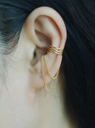 Pinjeas Filling Cartilage Earring Cuff With Chain Ear Jacket No Piercing Boho Jewelry Present For Women