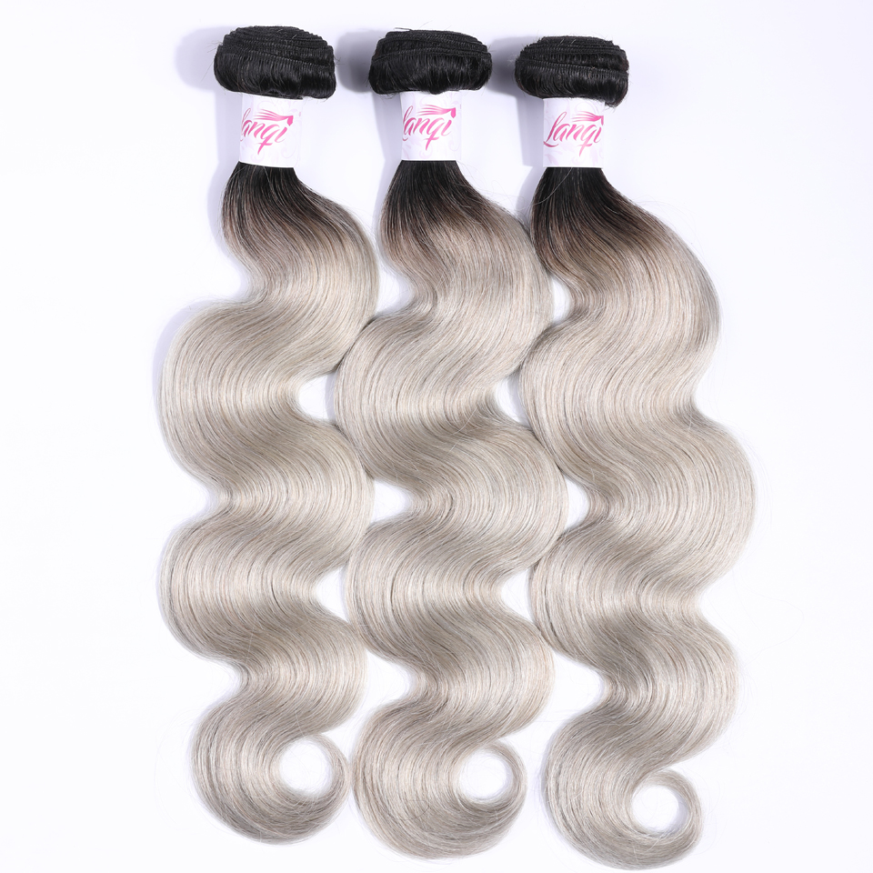 T1B/Grey Brazilian Body Wave Hair 3 Bundles Deals Lanqi Dark Roots Ombre Human Hair Weave Gray Non Remy Hair Weave Bundles