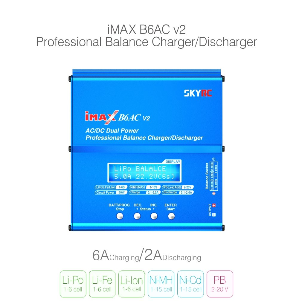 SKYRC iMAX B6AC V2 6A Lipo Battery Balance Charger LCD Display Discharger For RC Model Battery Charging Re peak Mode-in Chargers from Consumer Electronics