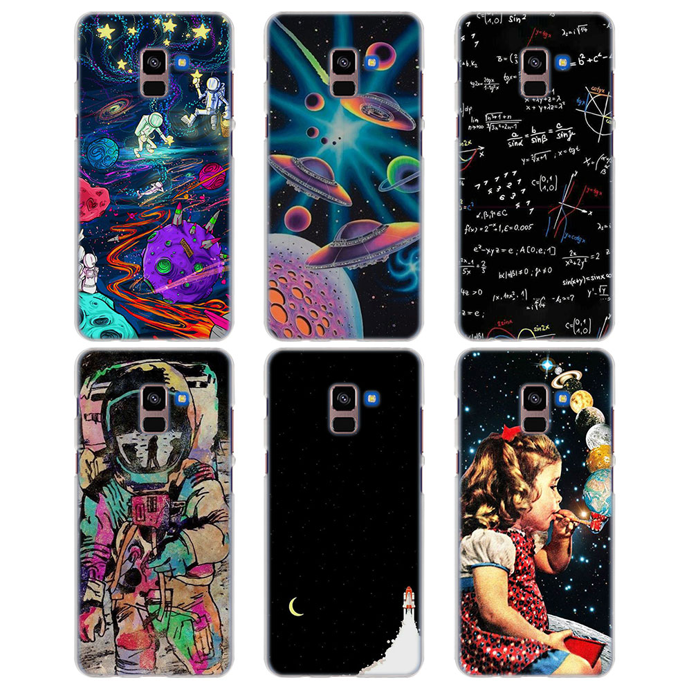 Case Space Moon Weird Astronaut Style Clear Frame Hard Back Case Cover For Samsung A6 A6 2018 A3 A5 A7 20 Attractive Appearance A8 A8 For Galaxy A8
